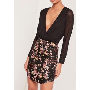 Missguided Floral Miniskirt